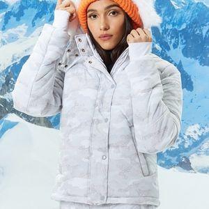 Forever 21 NWT White Camo Ski Jacket